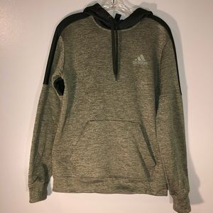 Adidas Heather Green & Black Fleece Hoodie | S/M
